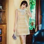 Bow Accent Collared Sleeveless Tweed Dress