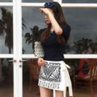 Inset Shorts Embroidered Mini Wrap Skirt