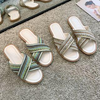 Braided Cross Strap Slippers