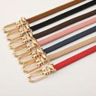 Faux Leather Slim Belt Pink - One Size