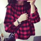 Off-shoulder Long-sleeve Plaid Top Red - One Size