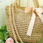 Beribboned Straw Tote With Strap
