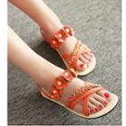 Braid Flower-accent Flat Slide Sandals