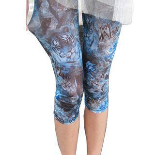 Tiger Print Carpi Leggings Blue - One Size