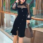 Sheer Panel Long-sleeve Velvet Sheath Dress