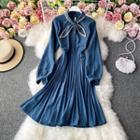 Plain A-line Pleated Dress