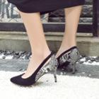 Genuine-leather Low-heel Pumps