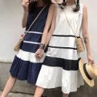 Sleeveless Striped Accordion Pleated Midi Dress
