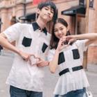 Couple Matching Set: Short-sleeve Contrast Panel Shirt + Peplum Blouse