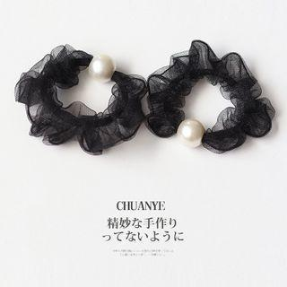 Faux Pearl Hair Tie 01 - Black - One Size