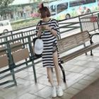 Striped Elbow Sleeve Slit T-shirt