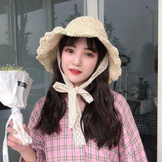 Straw Hat With Lace Neck Strap