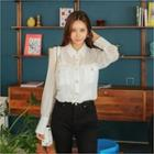 Puff-shoulder Faux-pearl Button Sheer Blouse