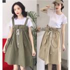 Plain Drawstring Pinafore Dress