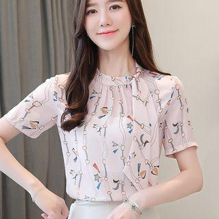Short-sleeve Chain Print Chiffon Blouse