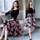 Long-sleeve Floral Print Panel A-line Dress