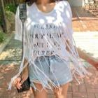 Lettering Fringed Cotton T-shirt