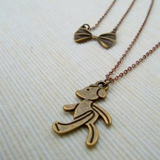 Mr. Bear Double Necklace Copper - One Size