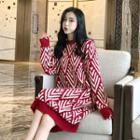 Patterned Long-sleeve Midi Sweater Dress