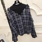 Plaid Mock Two-piece Bell-sleeve Blouse