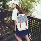 Canvas Striped Buckled Backpack