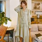 Long-sleeve Asymmetric Plaid Ruffled Midi Dress