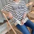 Letter-embroider Striped T-shirt