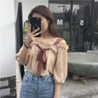 Frilled Off-shoulder Puff Elbow-sleeve Top