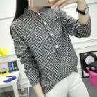 Band Collar Gingham Shirt
