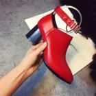 Genuine-leather Ankle Strap Boots