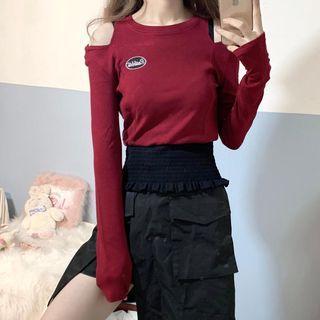 Letter Embroidered Cold Shoulder Long-sleeve Knit Top