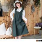 Double Pocket Plain Jumper Dress