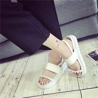 Faux Pearl Platform Sandals