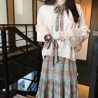 Color-block Check Pleated Dress / Plain Knit Top
