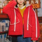Contrast-trim Drawstring Hooded Jacket