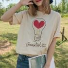 Light-bulb Embroidered Short Sleeve T-shirt