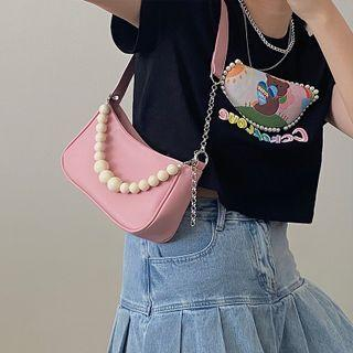 Beaded Faux Leather Shoulder Bag Pink - One Size