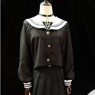 Long-sleeve Sailor Collar Top Black - One Size