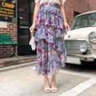 Ruffle-layered Floral Print Chiffon Skirt