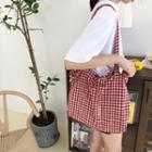 Plaid Canvas Tote Gingham - Red - One Size