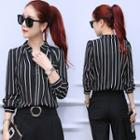 Long-sleeve Stand Collar Striped Blouse