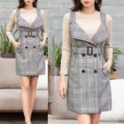Set: Plain Knit Top + Plaid Jumper Dress