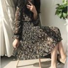Floral Print Accordion Chiffon Dress