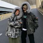 Furry Trim Camo Hooded Padded Coat
