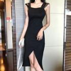 Sleeveless Mesh Paneled Slit Sheath Dress