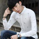Button-down Collar Patterned Shirt