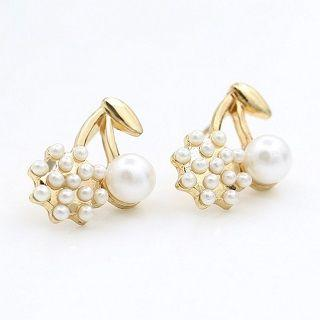 Faux Pearl Cherry Earrings