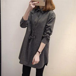 Striped Bow Accent Long Shirt