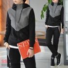 Diagonal-zip Jacket & Sweatpants Set