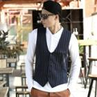 Pinstriped Buttoned Vest